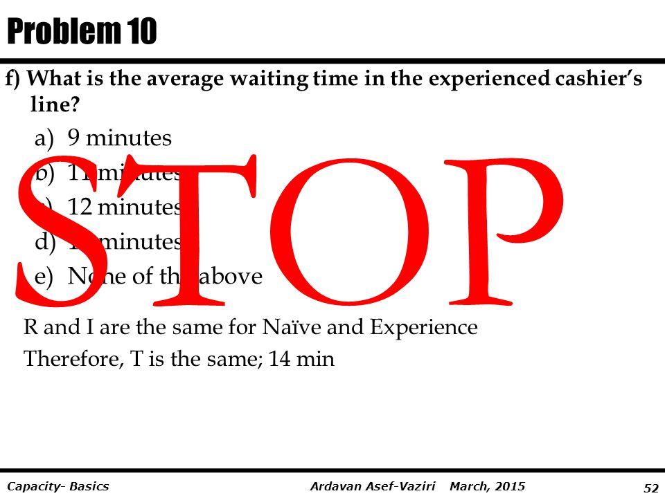 STOP Problem 10 9 minutes 11 minutes 12 minutes 14 minutes