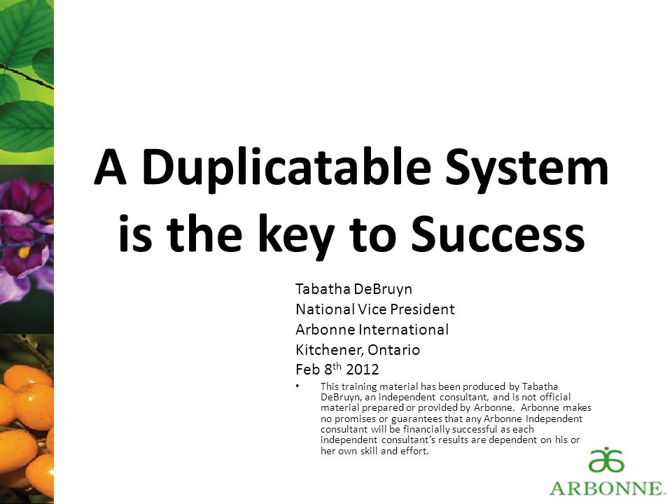 A Duplicatable System is the key to Success