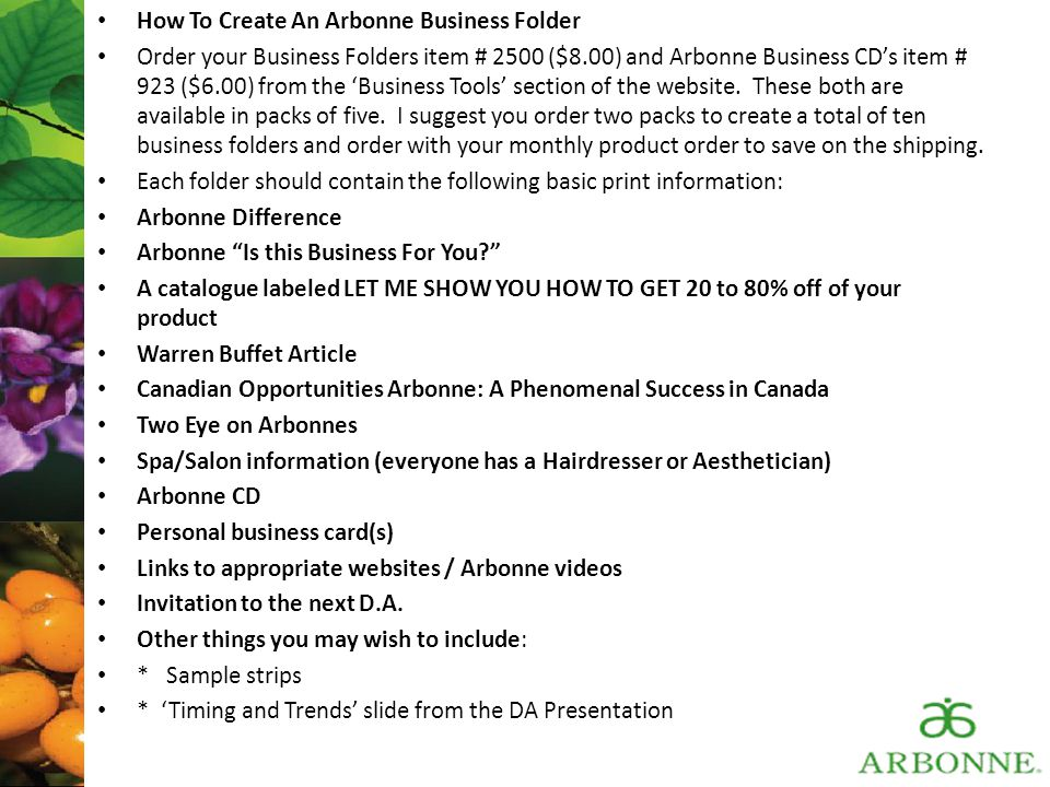 How To Create An Arbonne Business Folder