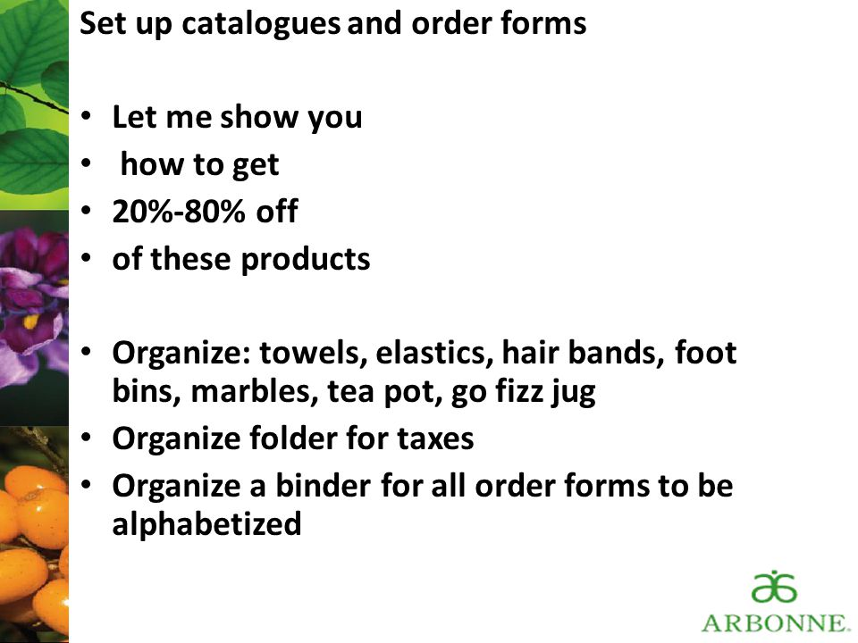 Set up catalogues and order forms