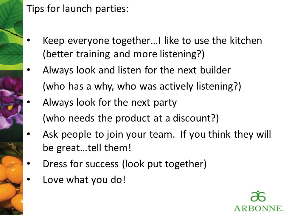 Tips for launch parties: