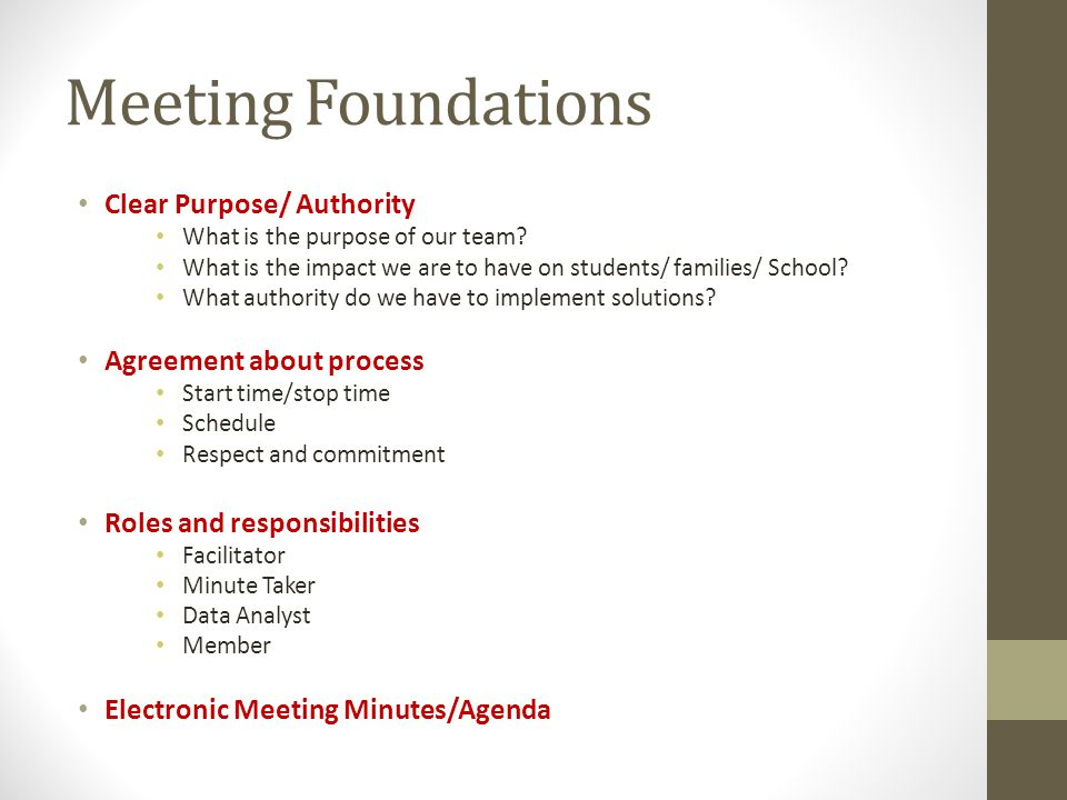 Meeting Foundations Clear Purpose/ Authority Agreement about process