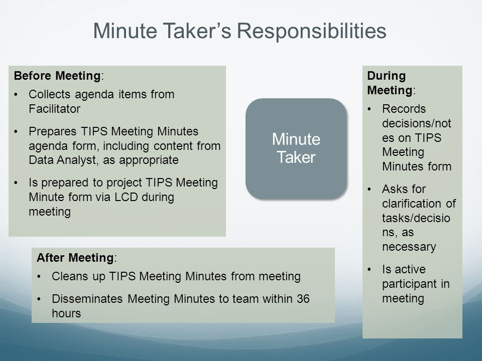 Minute Taker's Responsibilities