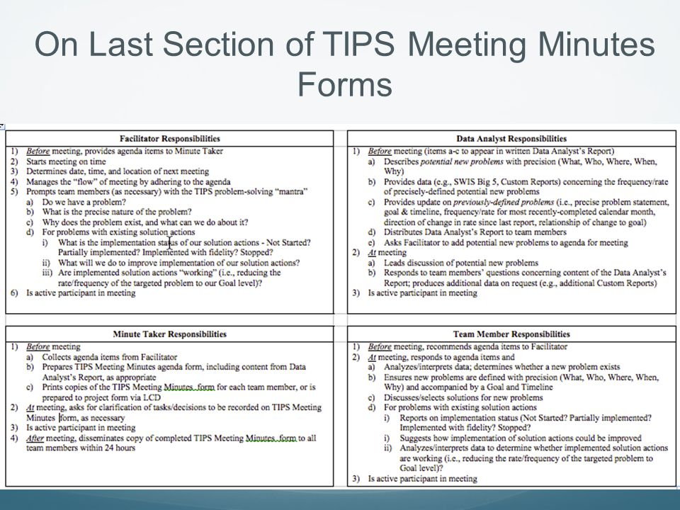 On Last Section of TIPS Meeting Minutes Forms