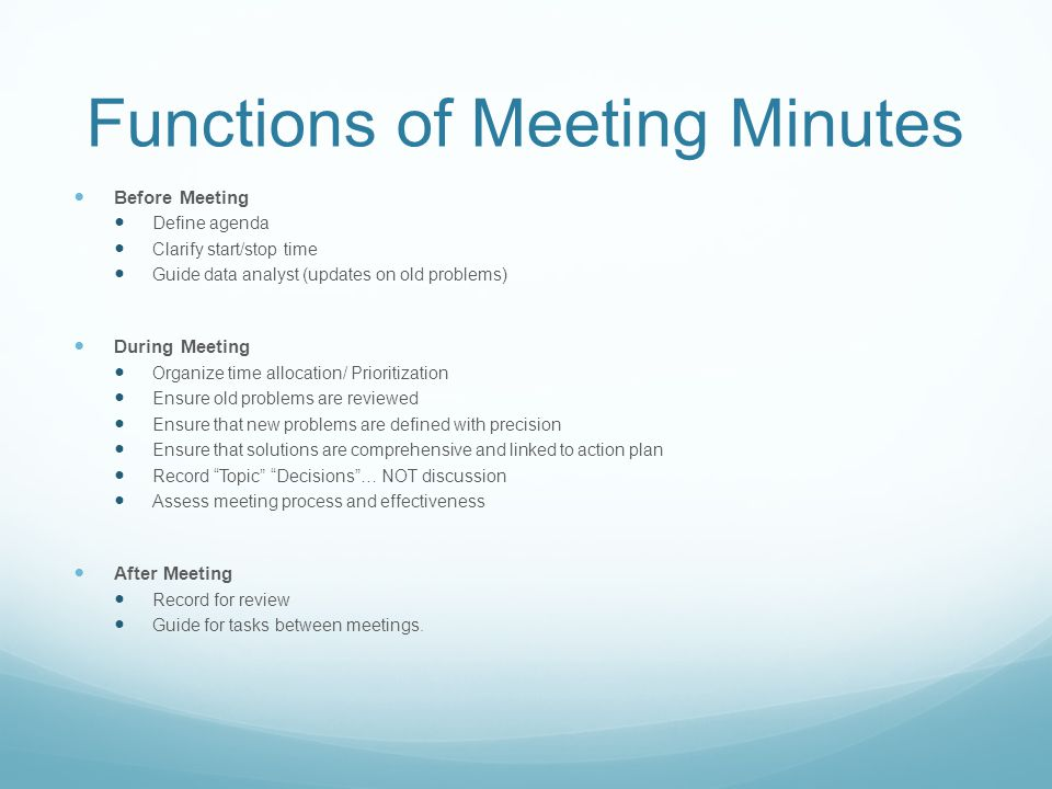 Functions of Meeting Minutes