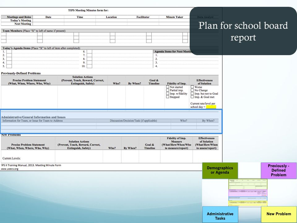 Plan for school board report