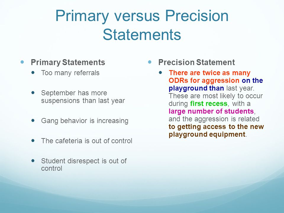Primary versus Precision Statements