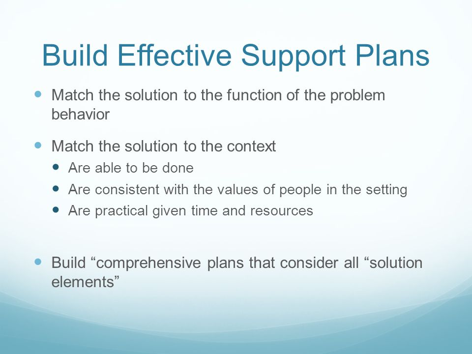 Build Effective Support Plans