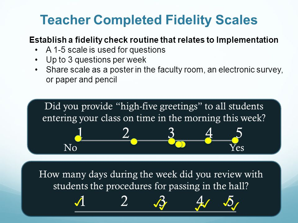 Teacher Completed Fidelity Scales