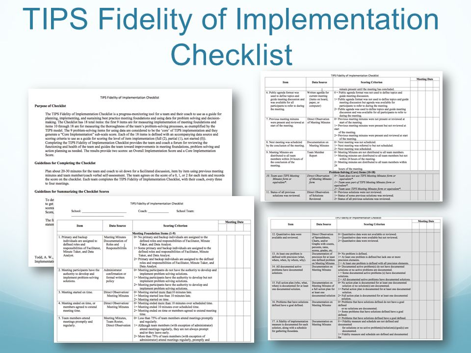 TIPS Fidelity of Implementation Checklist
