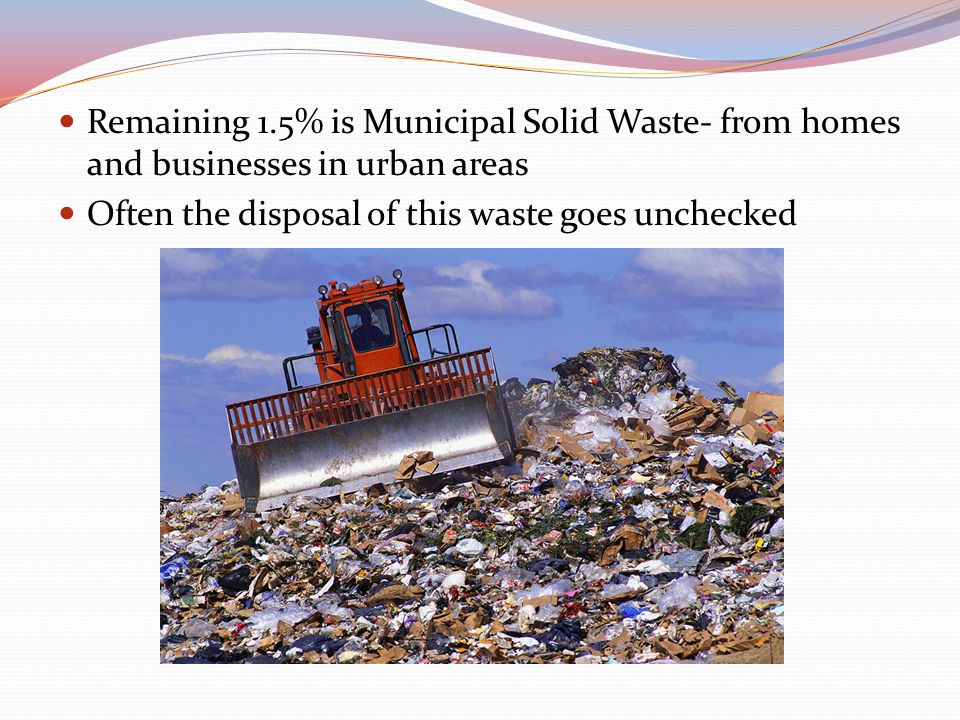 Remaining 1.5% is Municipal Solid Waste- from homes and businesses in urban areas