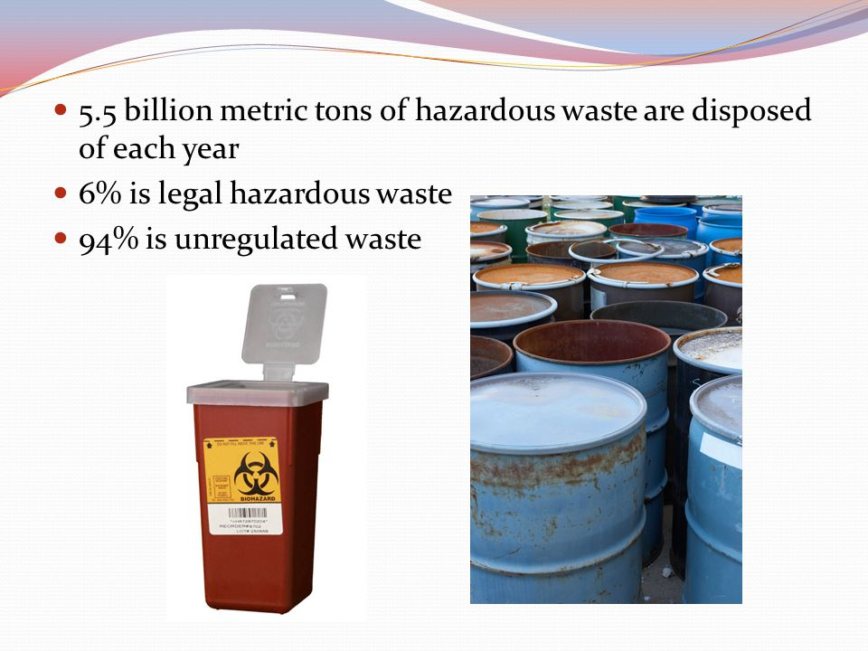 5.5 billion metric tons of hazardous waste are disposed of each year