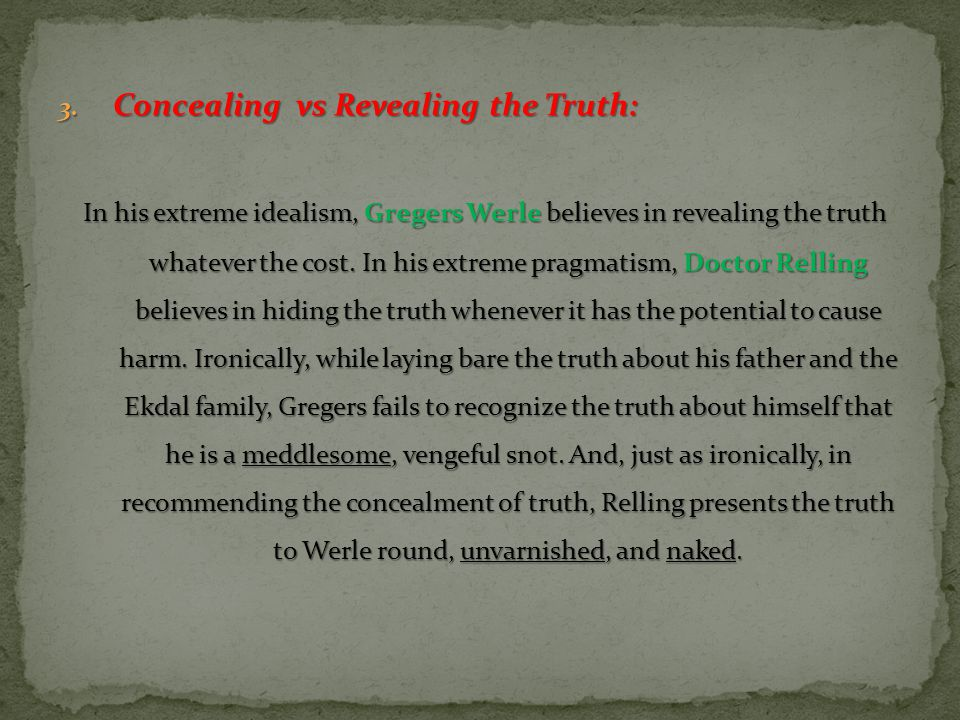 Concealing vs Revealing the Truth: