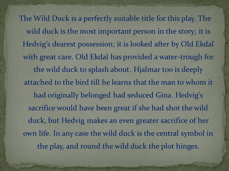 The Wild Duck is a perfectly suitable title for this play