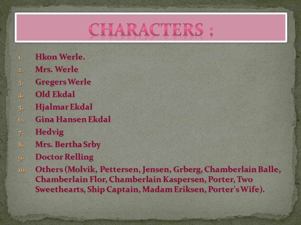 Characters : Hkon Werle. Mrs. Werle Gregers Werle Old Ekdal