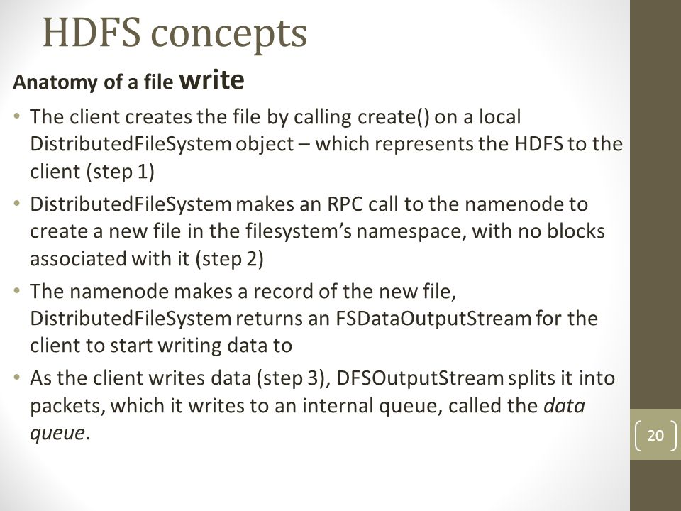 HDFS concepts Anatomy of a file write