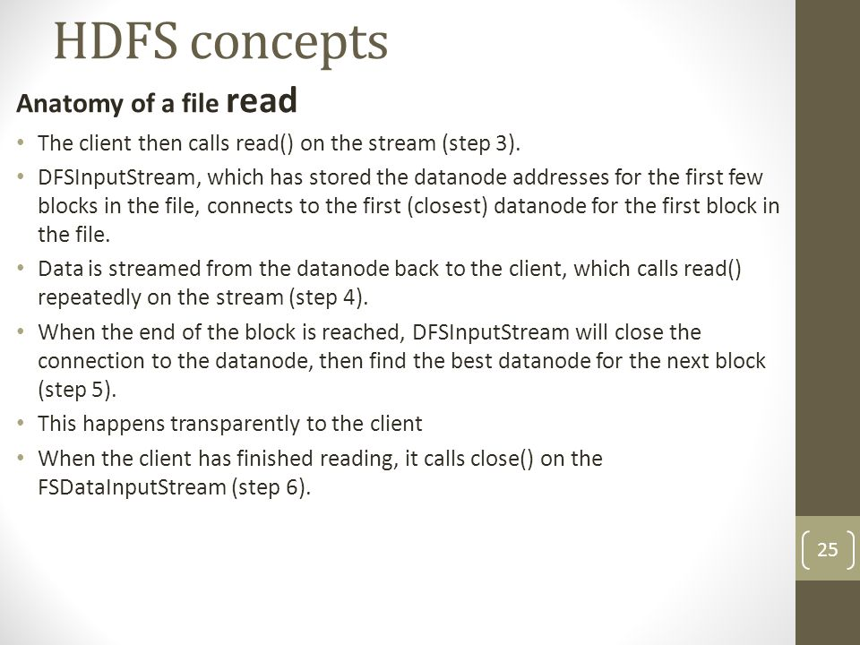 HDFS concepts Anatomy of a file read