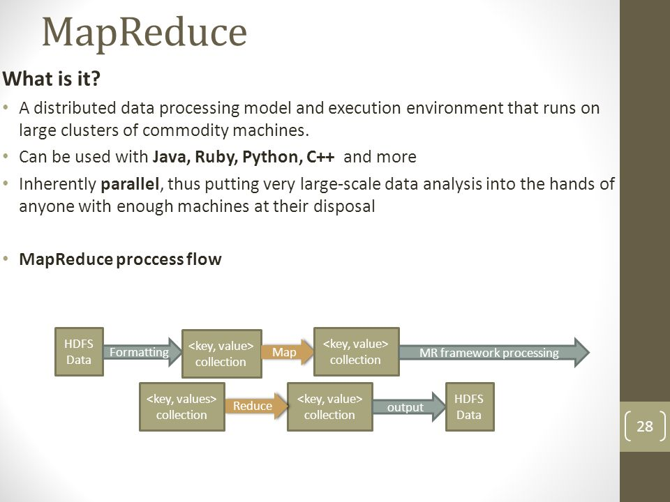 MapReduce What is it A distributed data processing model and execution environment that runs on large clusters of commodity machines.