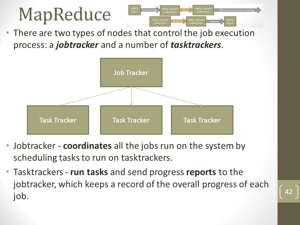 MapReduce There are two types of nodes that control the job execution process: a jobtracker and a number of tasktrackers.