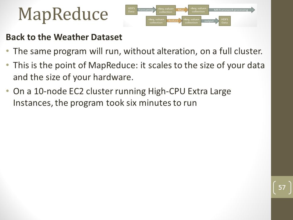 MapReduce Back to the Weather Dataset