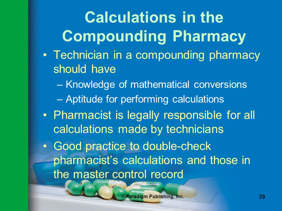 Calculations in the Compounding Pharmacy