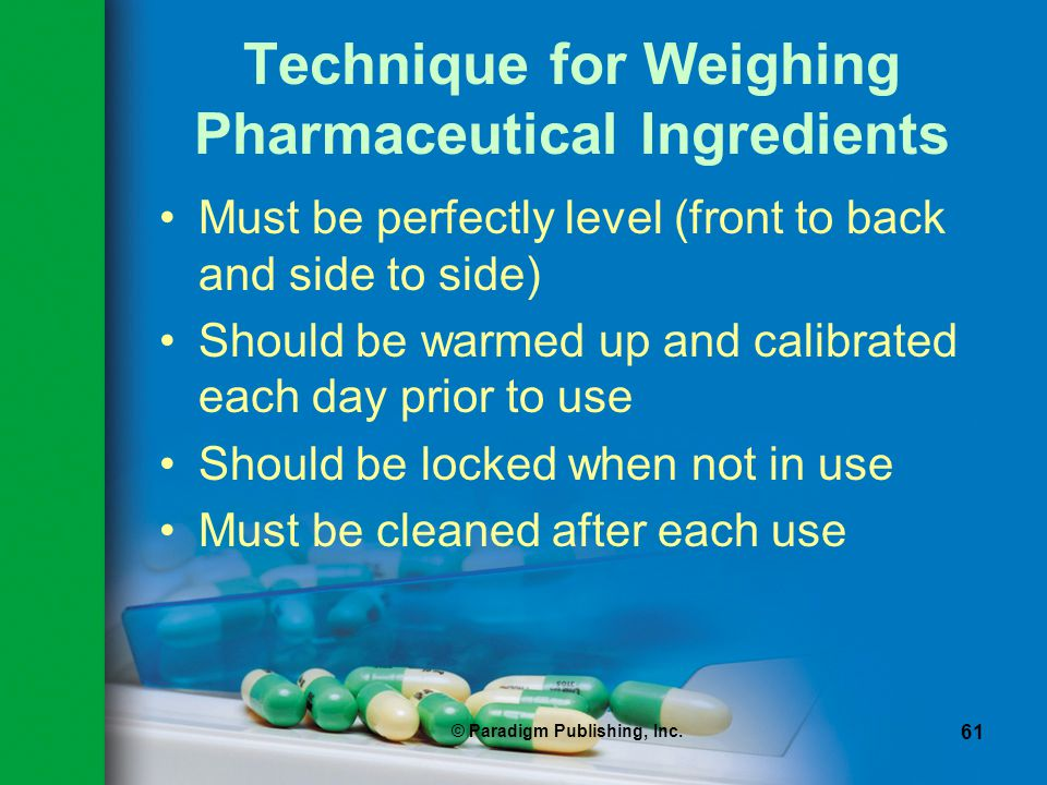 Technique for Weighing Pharmaceutical Ingredients