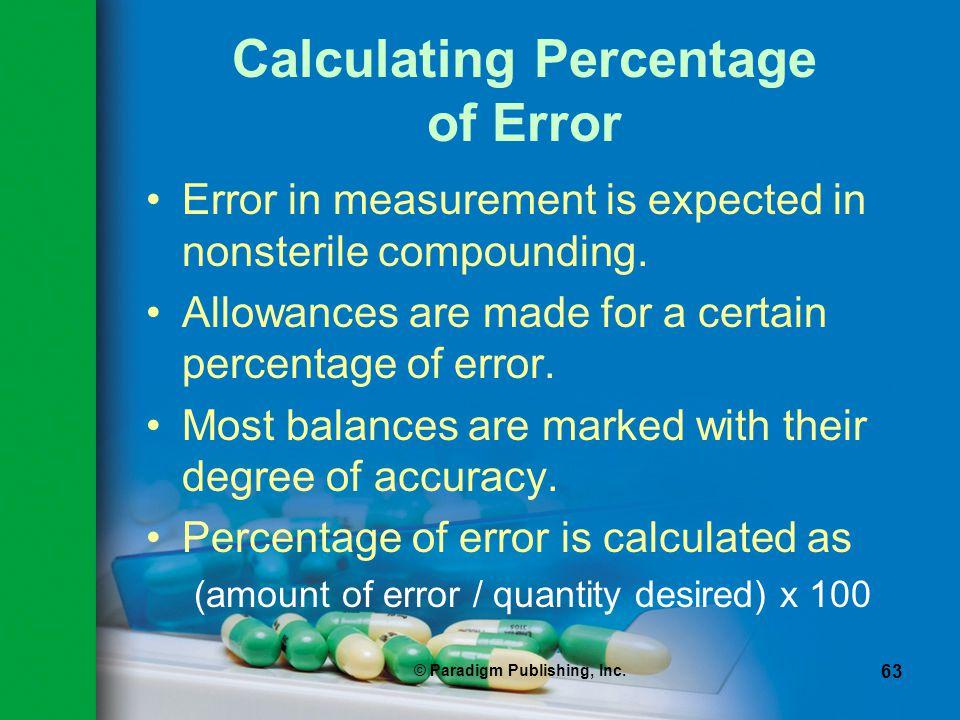 Calculating Percentage of Error