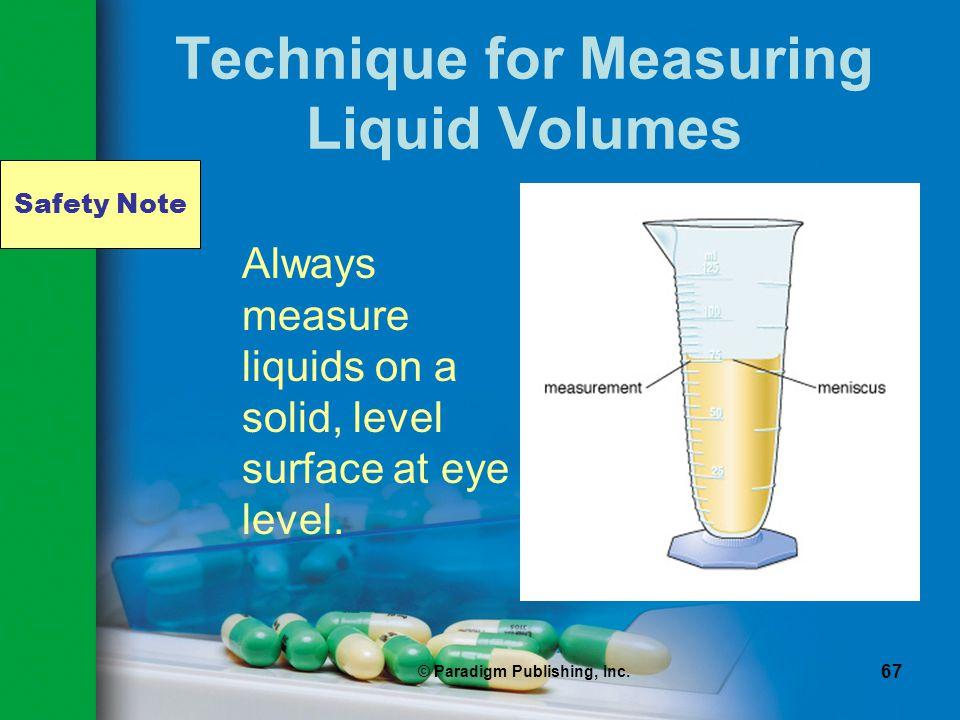 Technique for Measuring Liquid Volumes