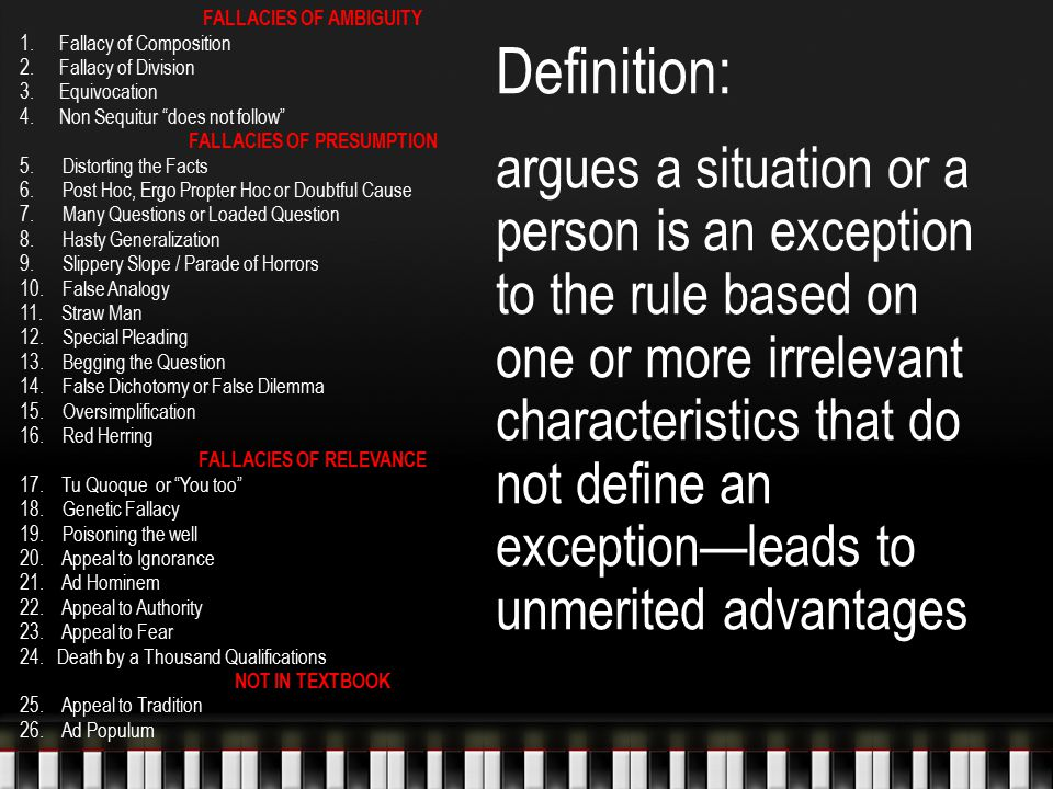 FALLACIES OF AMBIGUITY FALLACIES OF PRESUMPTION FALLACIES OF RELEVANCE