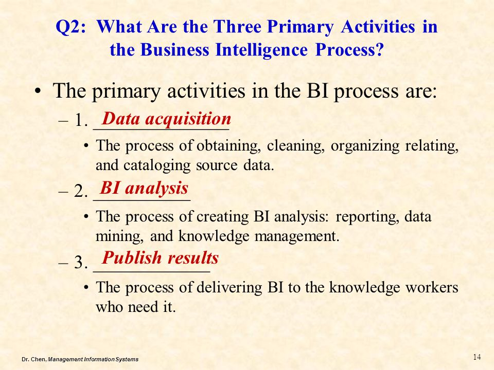 The primary activities in the BI process are: