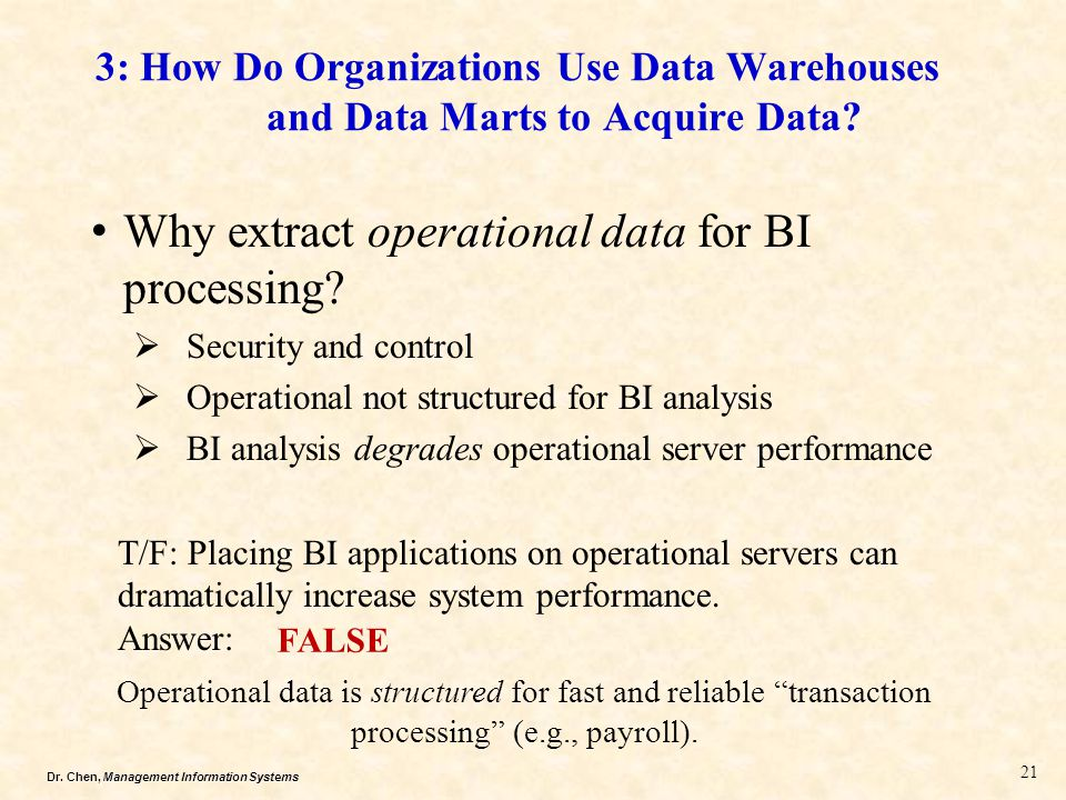 Why extract operational data for BI processing