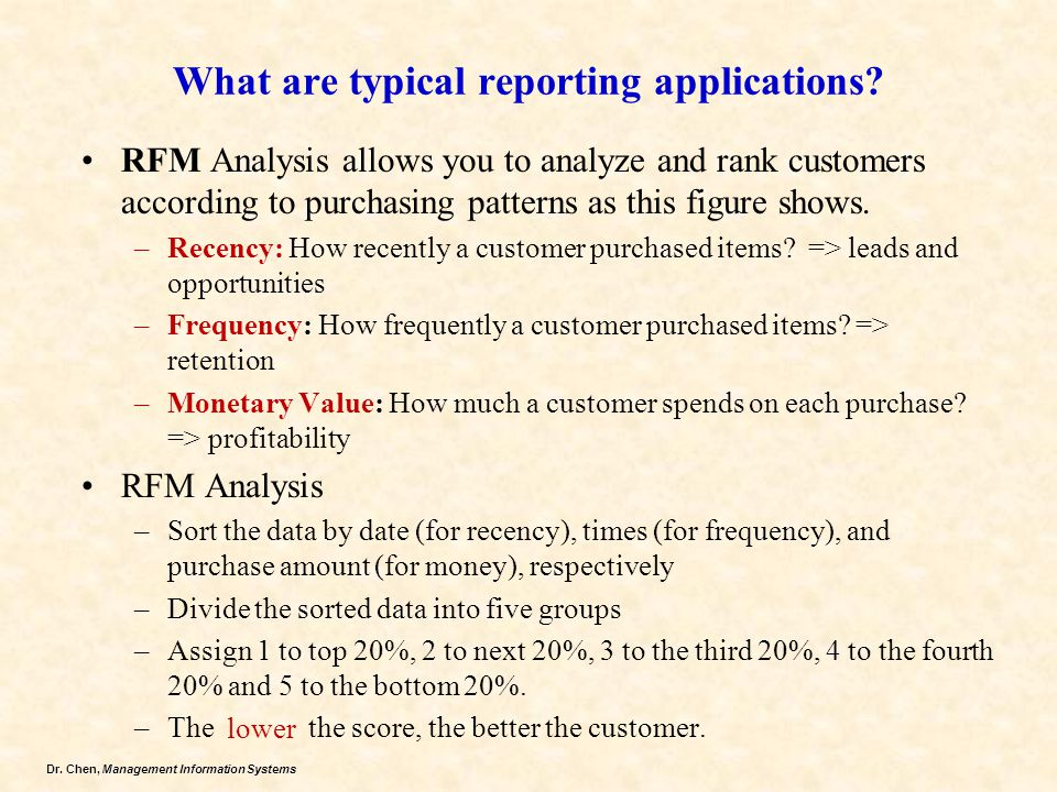 What are typical reporting applications