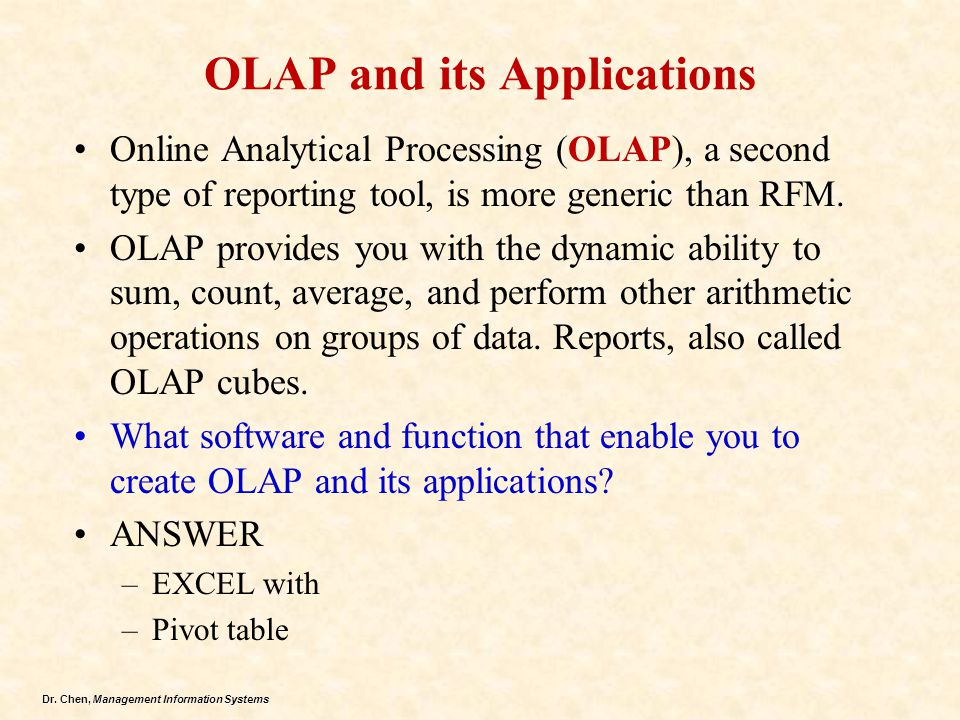 OLAP and its Applications