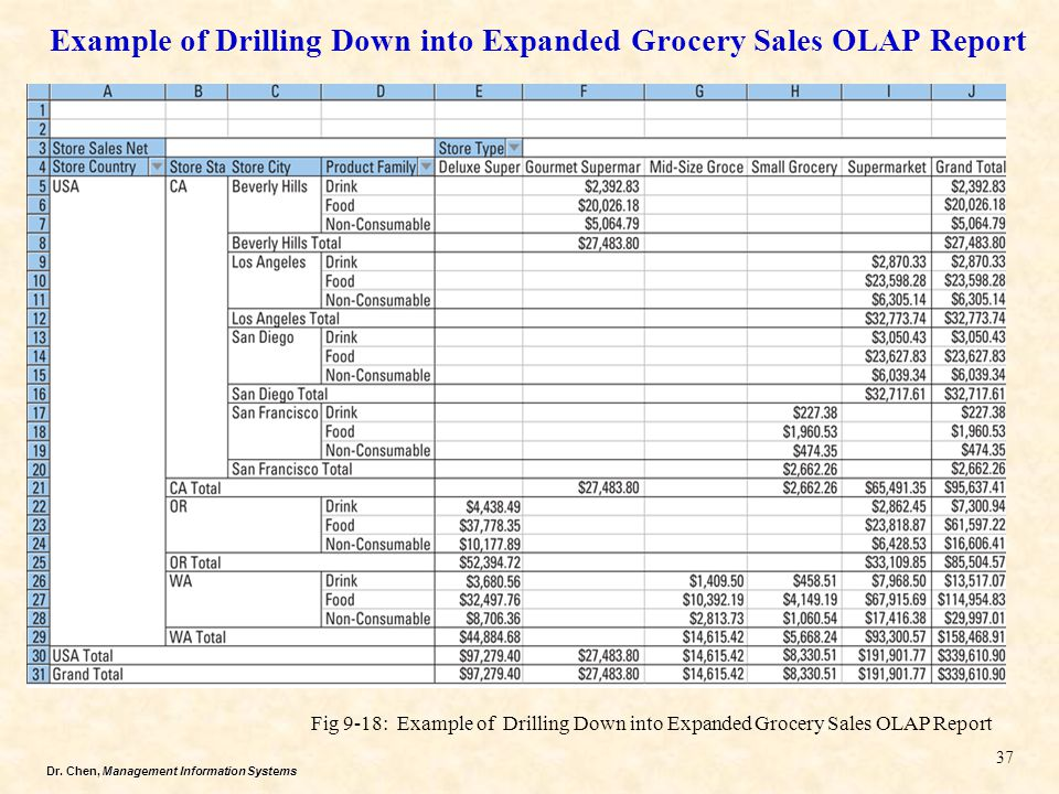 Example of Drilling Down into Expanded Grocery Sales OLAP Report