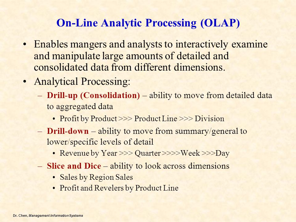 On-Line Analytic Processing (OLAP)