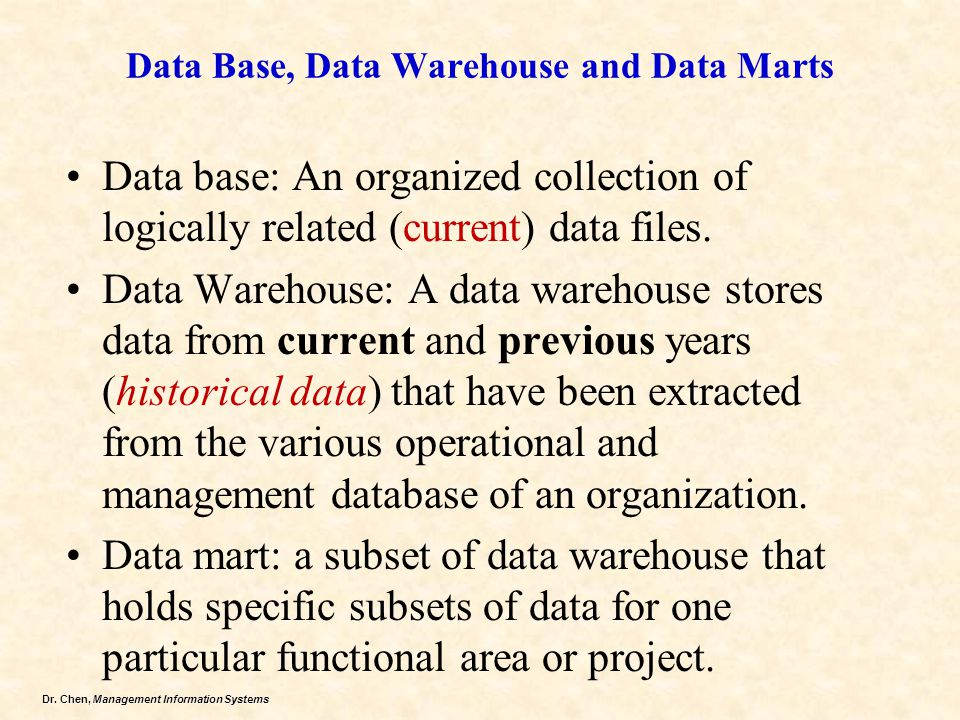 Data Base, Data Warehouse and Data Marts