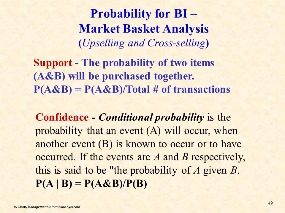Probability for BI – Market Basket Analysis (Upselling and Cross-selling)