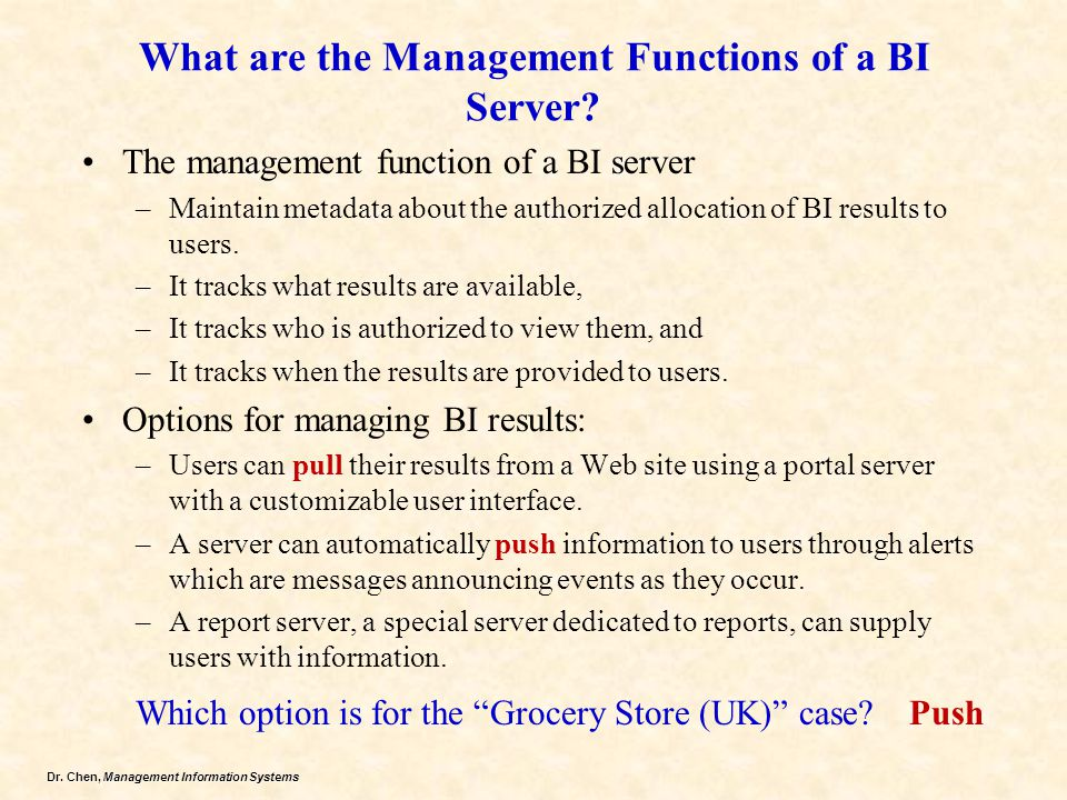What are the Management Functions of a BI Server