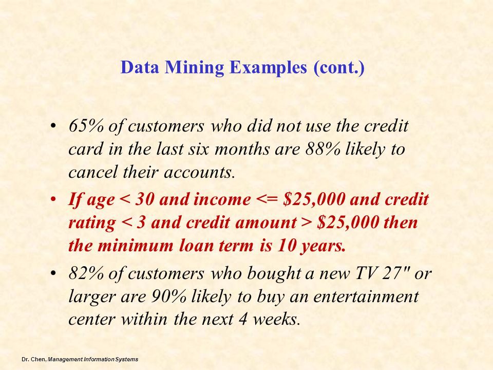 Data Mining Examples (cont.)
