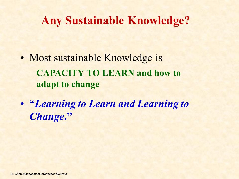 Any Sustainable Knowledge