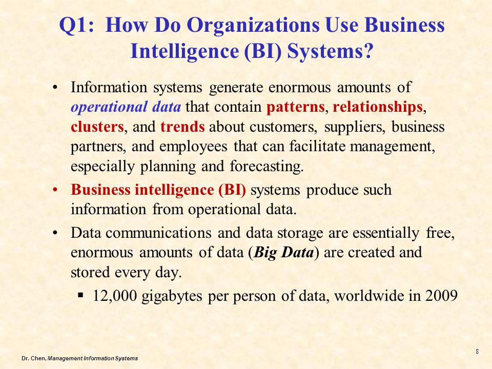 Q1: How Do Organizations Use Business Intelligence (BI) Systems