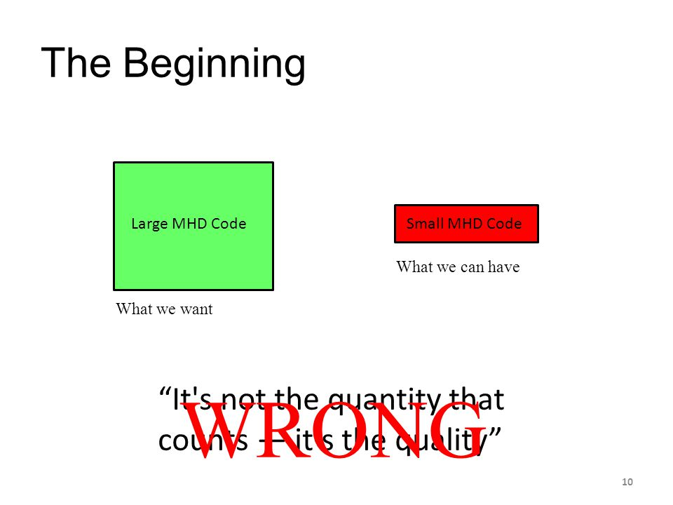 The Beginning Large MHD Code. Small MHD Code. What we can have. What we want. It s not the quantity that counts — it s the quality