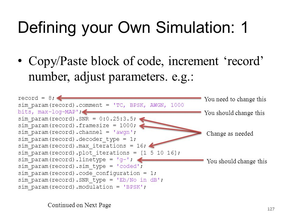 Defining your Own Simulation: 1