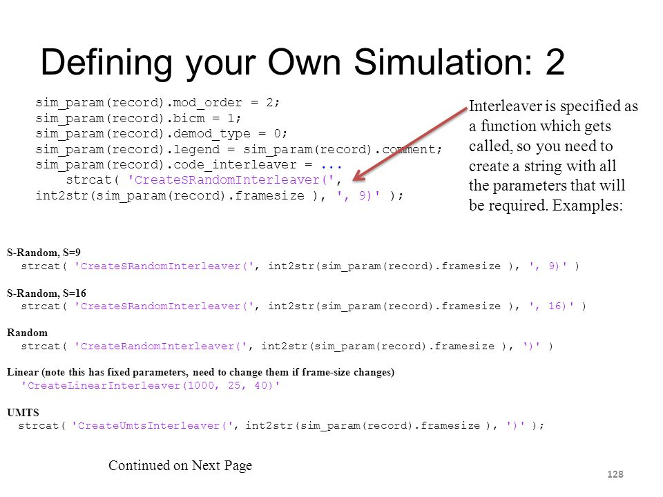 Defining your Own Simulation: 2