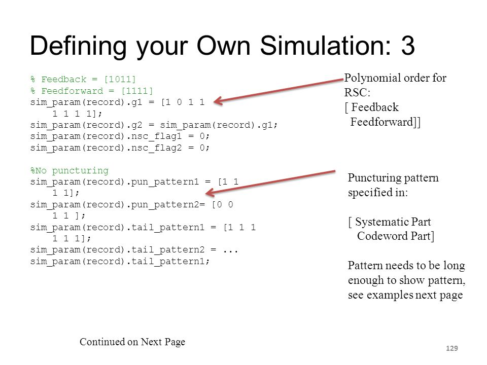 Defining your Own Simulation: 3