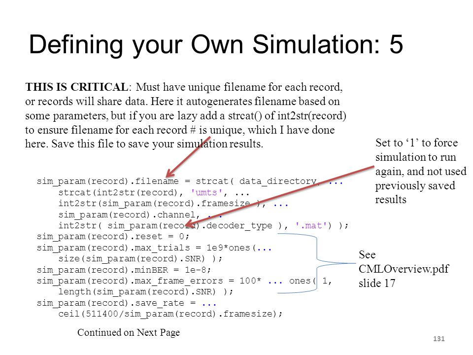 Defining your Own Simulation: 5