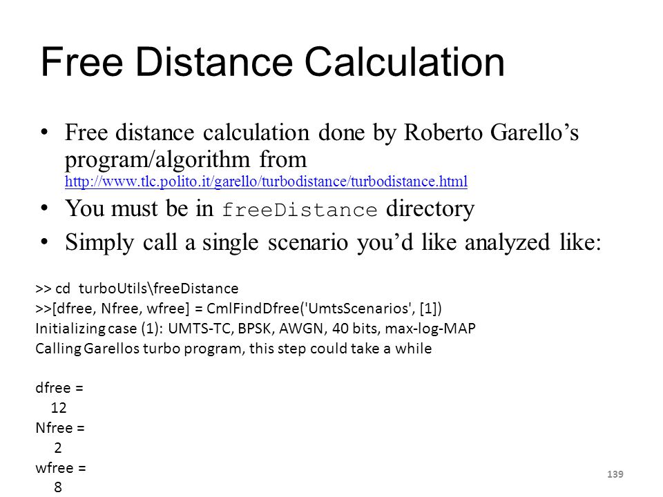 Free Distance Calculation