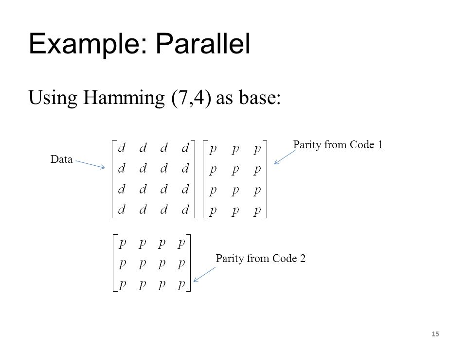 Example: Parallel Using Hamming (7,4) as base: Parity from Code 1 Data