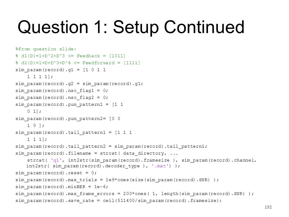 Question 1: Setup Continued