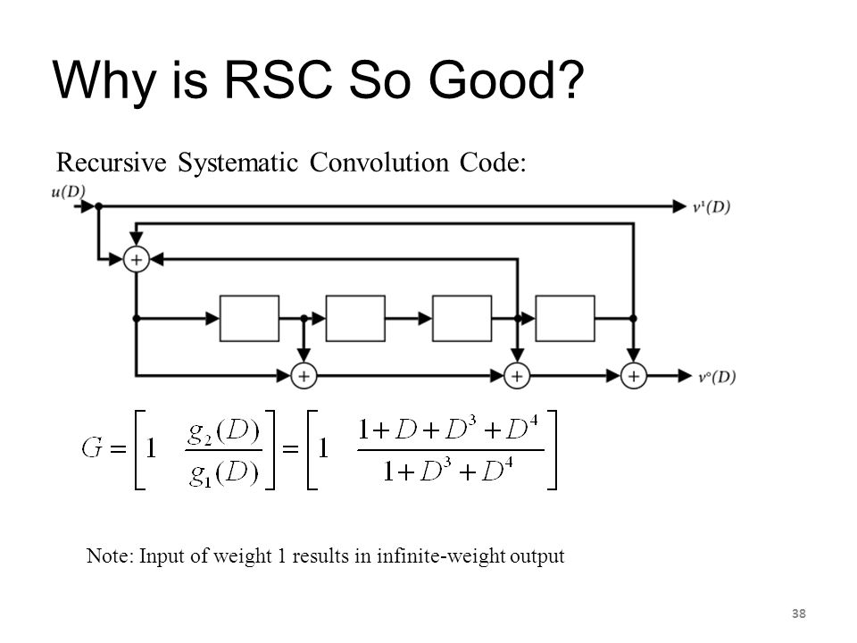 Why is RSC So Good Recursive Systematic Convolution Code: